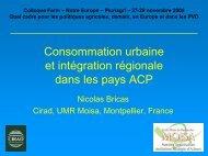 Consommation urbaine et intégration régionale ... - Fondation FARM