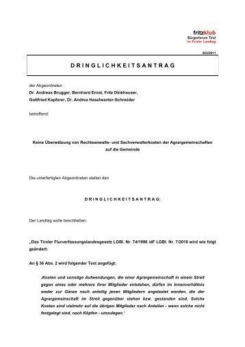 Keine Überwältzung von Rechtsanwalts - Liste Fritz