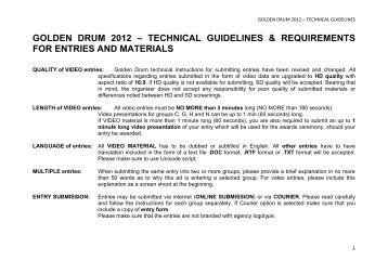 golden drum 2012 – technical guidelines & requirements for entries ...