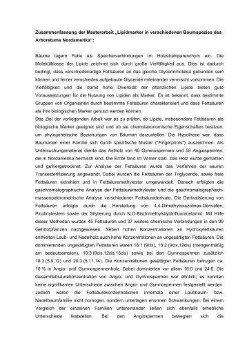 Zusammenfassung Der Masterarbeit âžlipidmarker In Verschiedenen