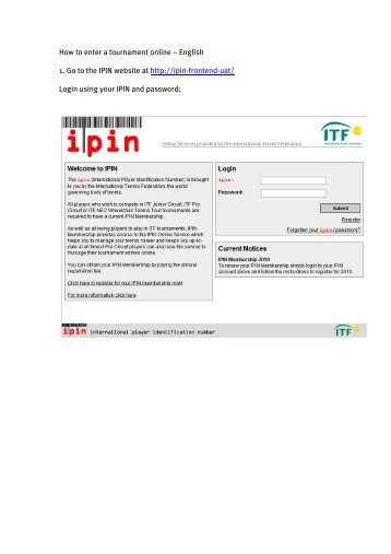 How to enter a tournament online – English 1. Go to the IPIN website ...