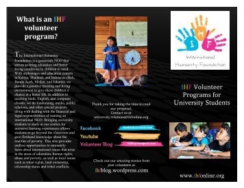 What is an IHF volunteer program?
