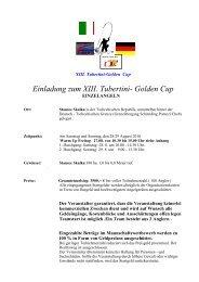Einladung zum XIII. Tubertini- Golden Cup - Fishing Tackle Max