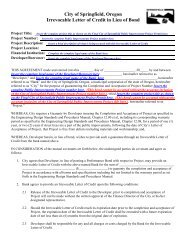 Irrevocable Letter of Credit (With Instructions) - City of Springfield