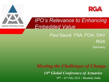 IPO's Relevance to Enhancing Embedded Value - Actuarial Society ...
