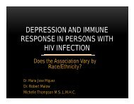depression and immune response in persons with hiv infection