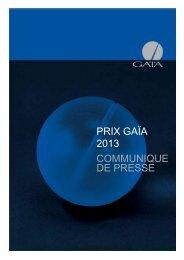 PRIX GAÏA 2013 COMMUNIQUE DE PRESSE - Ville de La Chaux ...