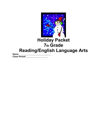 Holiday Packet 7th Grade Reading/English Language Arts