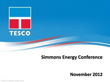 Simmons Energy Conference - TESCO Corporation