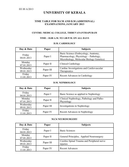 Additional) Exam Time Tables 2013 - Vidyavision com