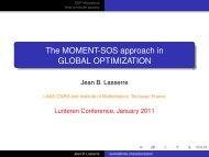 The MOMENT-SOS approach in GLOBAL OPTIMIZATION - LNMB