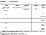 ChemActivity 1.1: Molecular Geometry - Carbon Rules
