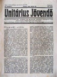 H U sv é t U t á n. - Magyarországi Unitárius Egyház