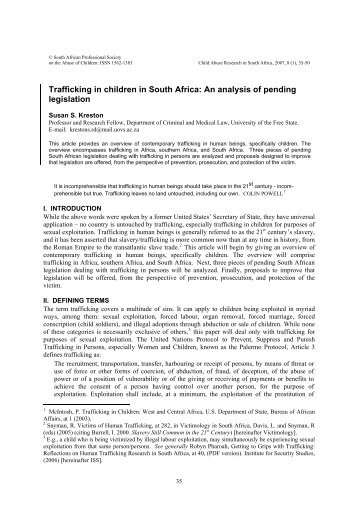 Trafficking in children in South Africa - Sexual Violence Research ...