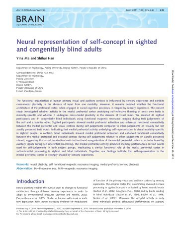 Neural representation of self-concept in sighted and congenitally ...