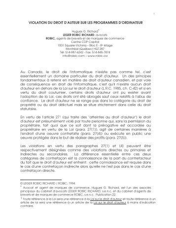 VIOLATION DU DROIT D'AUTEUR SUR LES PROGRAMMES D ...