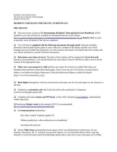Residents International Grant Checklist American Academy Of