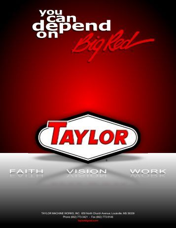 FAITH VISION WORK - Taylor Machine Works