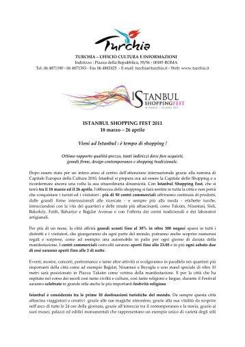 ISTANBUL SHOPPING FEST 2011 18 marzo - Ufficio Turismo Turco