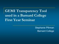 GEMI Transparency and a Barnard First Year Seminar