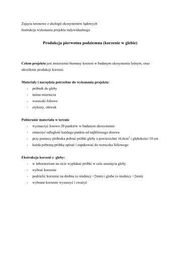 9. Produkcja pierwotna podziemna (korzenie w glebie)