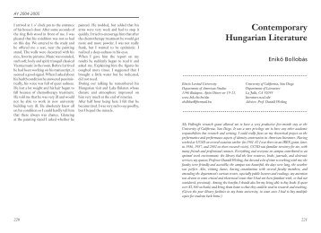 Contemporary Hungarian Literature - Fulbright