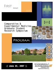 First - The University of Tennessee College of Veterinary Medicine