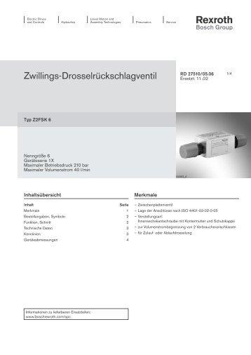 Zwillings-Drosselrückschlagventil - Bosch Rexroth