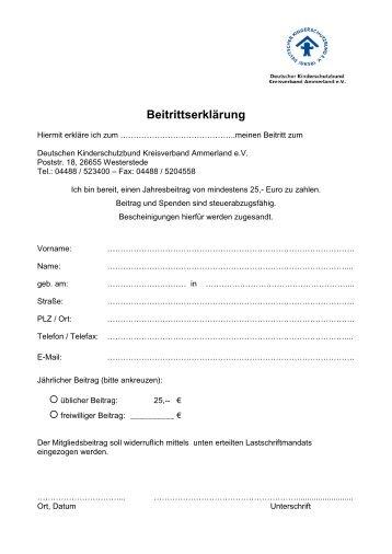 Beitrittserklärung - Kinderschutzbund Ammerland