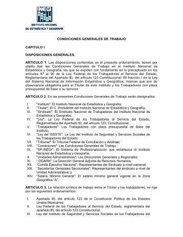 CONDICIONES GENERALES DE TRABAJO CAPITULO I ... - Inegi