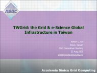 TWGrid: the Grid & e-Science Global Infrastructure in Taiwan - DocDB