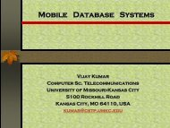Mobile Database Systems (MDS) - University of Missouri - Kansas City