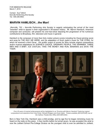 KPAS: Marvin Hamlisch - Kerrville Performing Arts Society