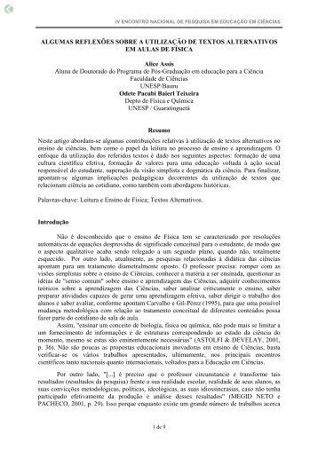 ALGUMAS REFLEXÕES SOBRE A UTILIZAÇÃO ... - Axpfep1.if.usp.br