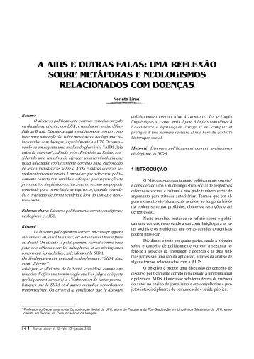 A AIDS E OUTRAS FALAS: UMA REFLEXÃO ... - Revista de Letras