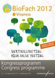 Kongressprogramm Congress programme - Vivaness