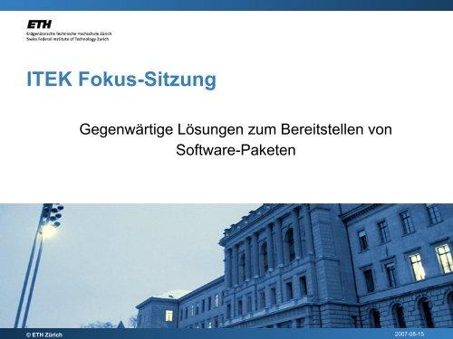 ITEK Fokus-Sitzung - ITEK - ETH Zürich