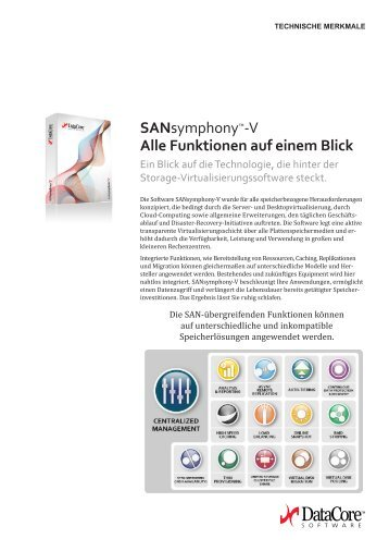 SANsymphonyâ ¢-V Alle Funktionen auf einem Blick