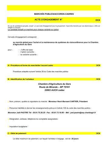 Acte d 39 engagement dc3 coupvray - Chambre d agriculture du gers ...