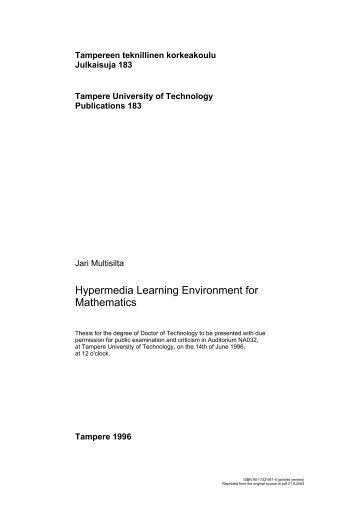 Hypermedia Learning Environment for Mathematics
