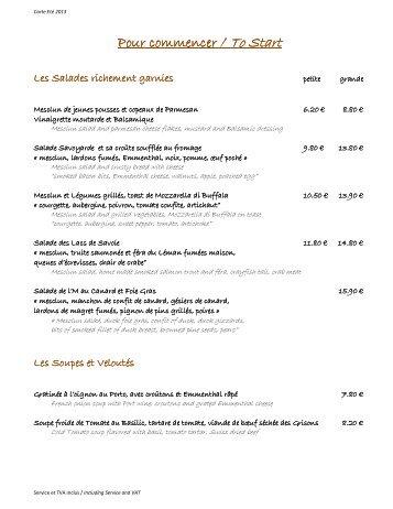 Télécharger la carte de la Brasserie - Best Mont Blanc