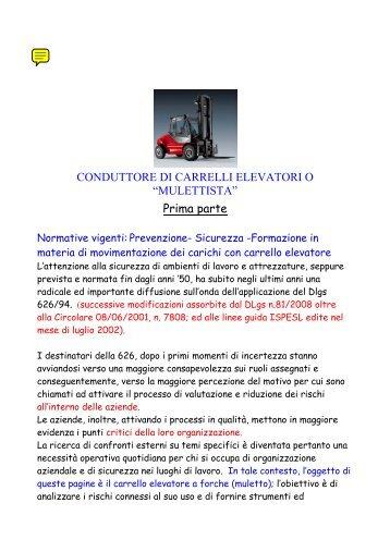 CONDUTTORE DI CARRELLI ELEVATORI O ... - Galanti Snc