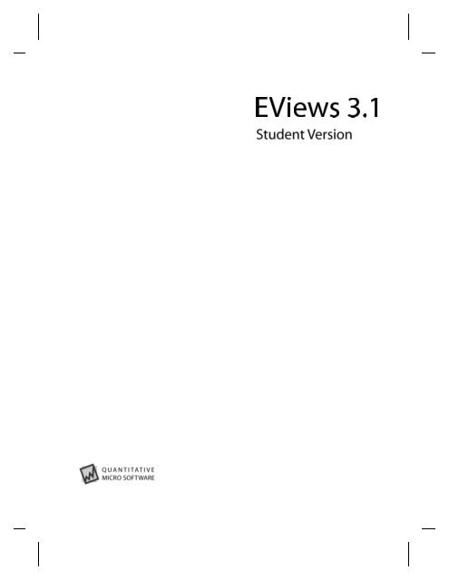 EViews 3 1 Student Version