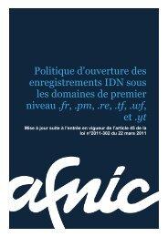Politique d'ouverture des enregistrements IDN - Afnic