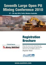 Seventh Large Open Pit Mining Conference 2010 - The AusIMM