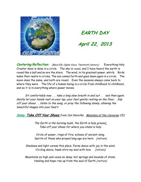 Earth Day Prayer Service - Holy Cross International Justice