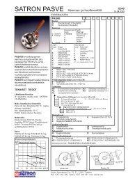 SATRON PASVE Asennus- ja huoltoventtiili - Satron Instruments Oy