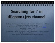 Searching for t' in dilepton+jets channel - UC San Diego