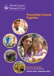 Preventing Cancer Together - World Cancer Research Fund