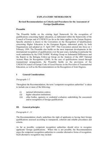 EXPLANATORY MEMORANDUM Revised Recommendation on ...